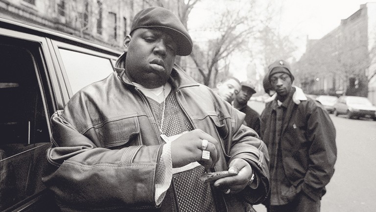 <p>Notorious B.I.G. photographed outside his mother&#39&#x3B;s house in Brooklyn, New York circa 1995.</p>