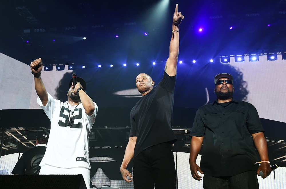 Members of N.W.A. Ice Cube, Dr. Dre and MC Ren