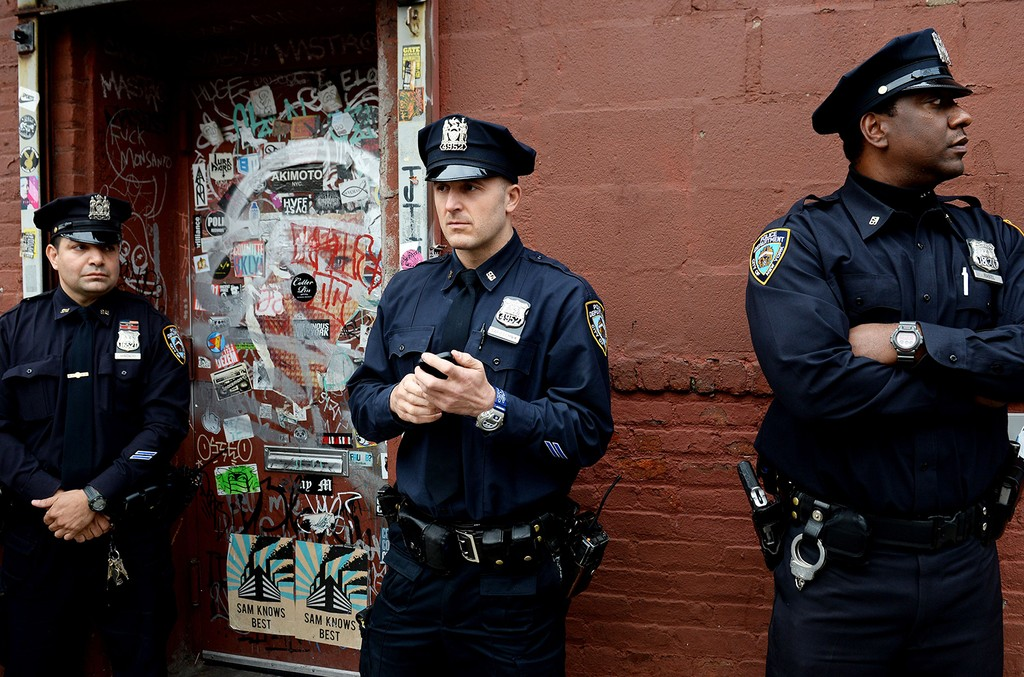 New York City Police Officers photographed in Brooklyn on Oct. 24, 2014.