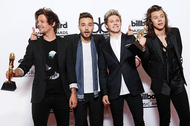 Louis Tomlinson, from left, Liam Payne, Niall Horan, and Harry Styles of the musical group One Direction at the Billboard Music Awards