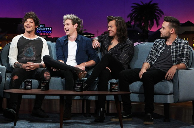 One Direction members Liam Payne, Harry Styles, Louis Tomlinson and Niall Horan Late Late Show with James Corden 2015
