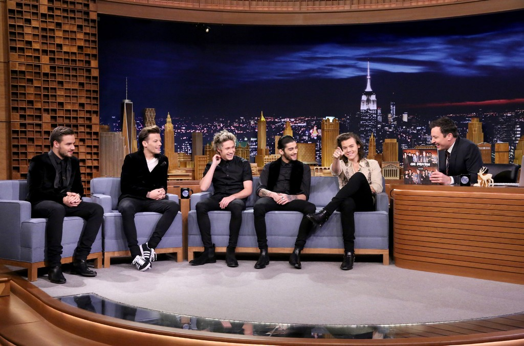 One Direction members Liam Payne, Louis Tomlinson, Niall Horan, Zayn Malik and Harry Styles during an interview with host Jimmy Fallon on Dec. 23, 2014.