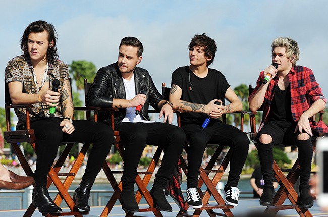 """Harry Styles, Liam Payne, Louis Tomlinson, and Niall Horan of the band One Direction appear on the """"Today"""" show from Universal Orlando Resort on Monday, November 17, 2014."""