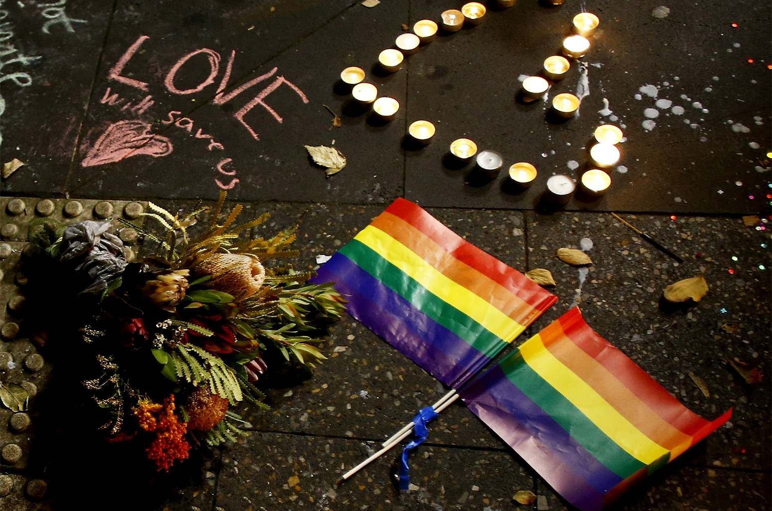 A candlelight vigil for the victims of the Pulse Nightclub shooting
