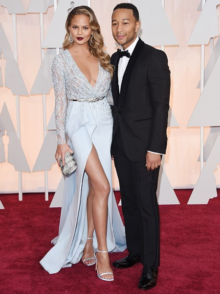 Chrissy Teigen and John Legend 2015 Oscars