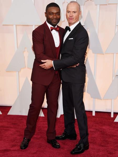 David Oyelowo and Michael Keaton at the Oscars 2015