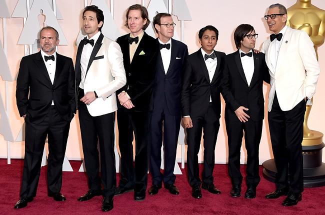 Jeremy Dawson, Adrien Brody, Wes Anderson, Hugo Guinness, Tony Revolori, Jason Schwartzmann and Jeff Goldblum 2015 Oscars