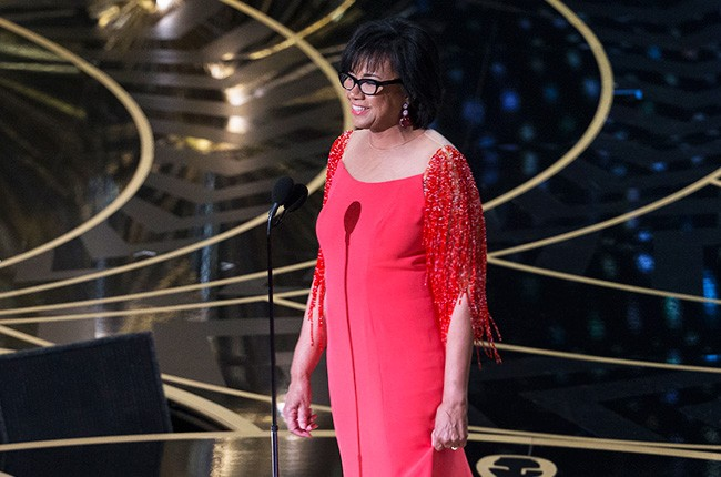 Cheryl Boone Isaacs, president of the Academy of Motion Picture Arts and Sciences, on stage at the 2016 Oscars on Feb. 28.