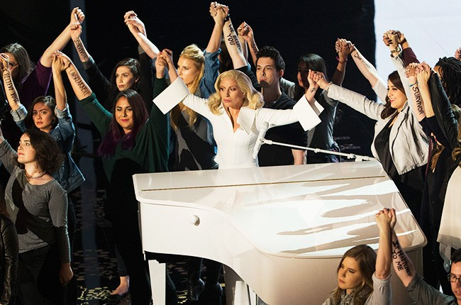 Lady Gaga onstage during her Oscars performance on Feb. 28, 2016.
