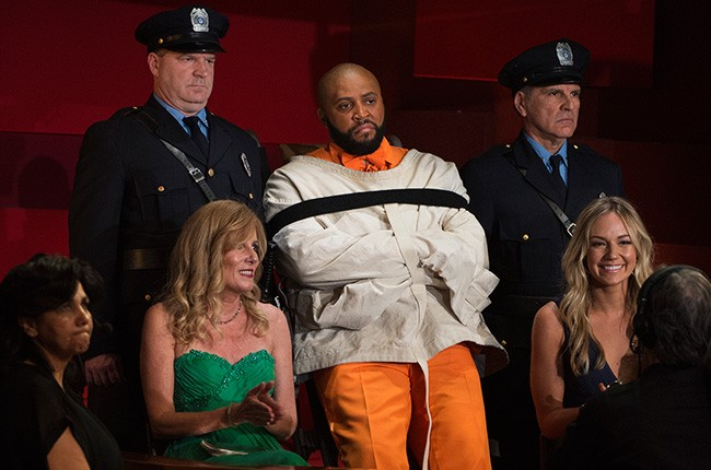 A Suge Knight impersonator during a bit at the 2016 Oscars on Feb. 28.