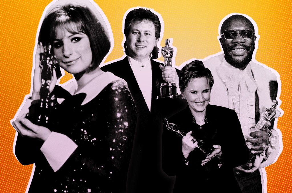 From left: Barbra Streisand, Alan Menken, Melissa Etheridge and Isaac Hayes