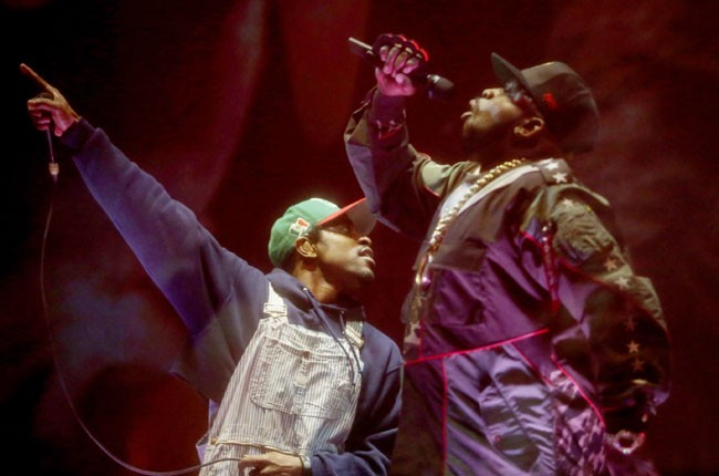 Andre 3000 and Big Boi of Outkast perform onstage during day 1 of 2014 Coachella