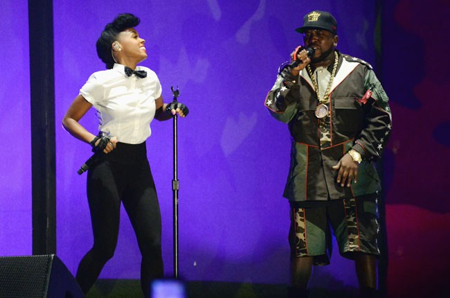 Janelle Monae performs onstage with Big Boi of Outkast during day 1 of 2014 Coachella