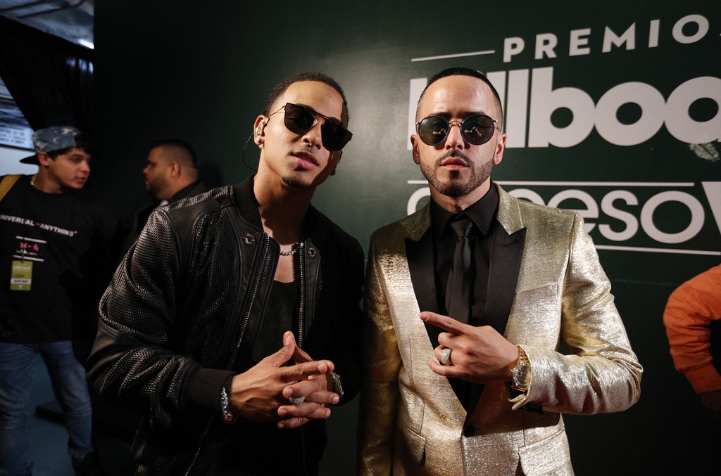 Ozuna and Yandel backstage at the Billboard Latin Music Awards on April 27, 2017 in Coral Gables, Fla.