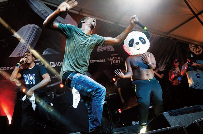 """""""Panda,"""" the debut single from the 18-year-old rapper (center), was sampled on Kanye West's The Life of Pablo."""