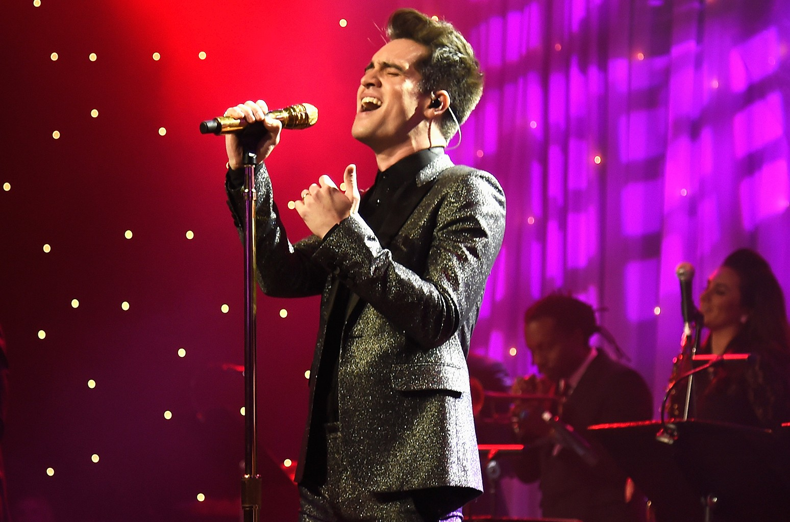 Brendon Urie of Panic at The Disco performs at The Beverly Hilton on Feb. 11, 2017 in Los Angeles.