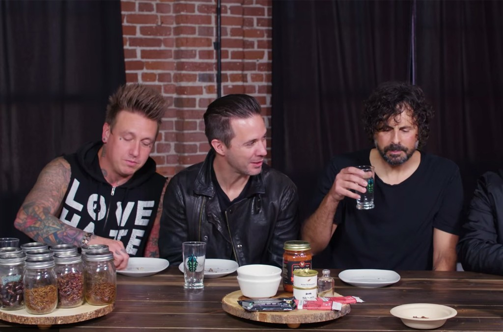 Papa Roach eat insects for an episode of First We Feast with Sean Evans.