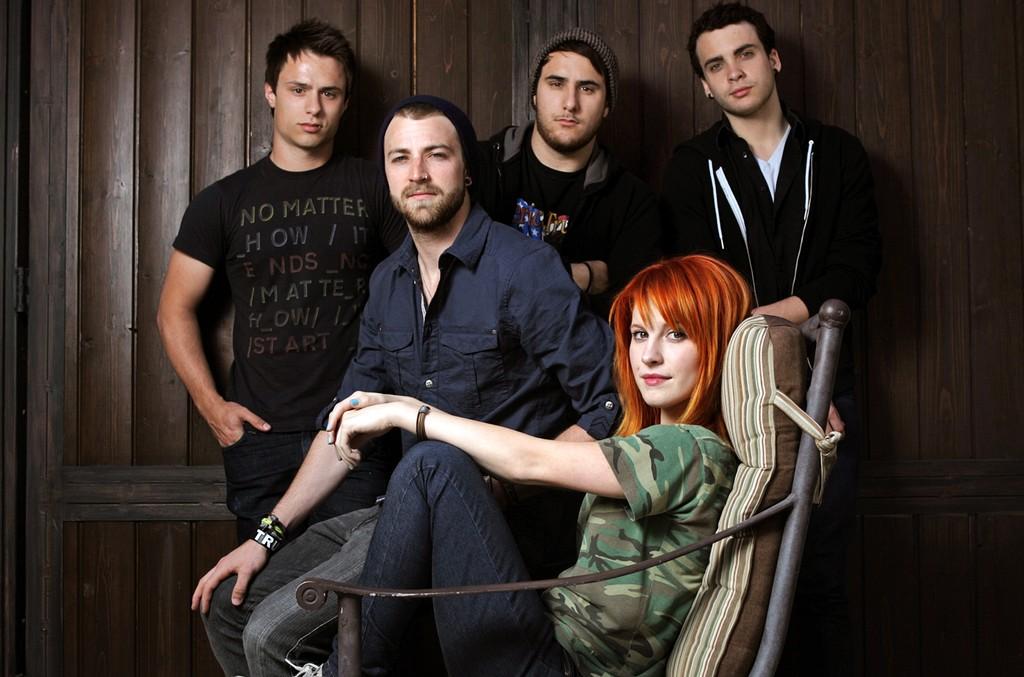 Josh Farro, Jeremy Davis, Zac Farro, Hayley Williams and Taylor York of Paramore photographed on Apr. 28, 2009.