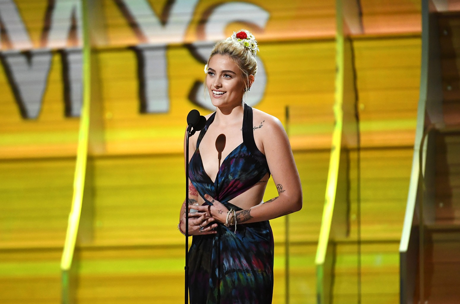 Paris Jackson speaks onstage during The 59th Grammy Awards at Staples Center on Feb. 12, 2017 in Los Angeles.