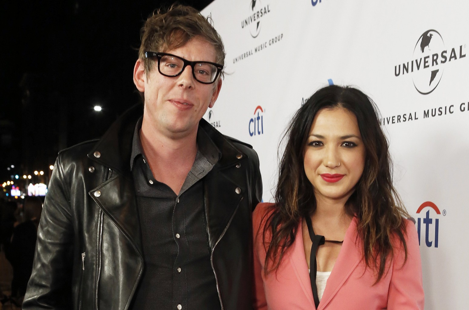 Patrick Carney, left, and Michelle Branch arrive at Universal Music Group Grammy Party Presented by American Airlines and Citi at The Theatre at Ace Hotel on Monday, Feb. 15, 2016, in Los Angeles, CA. (Photo by Eric Charbonneau/Invision for Citi/AP Images