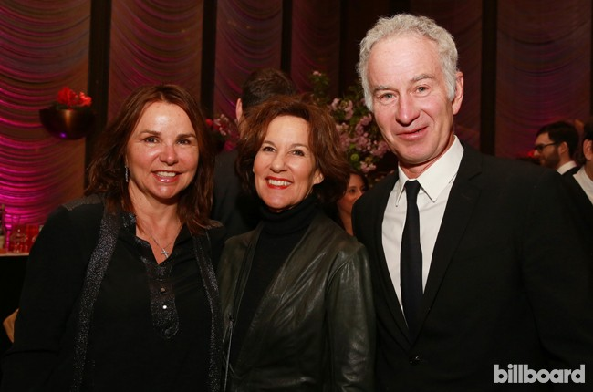 Patty Smyth, from left, guest and John McEnroe attend The 35 Most Powerful People in Media hosted by The Hollywood Reporter