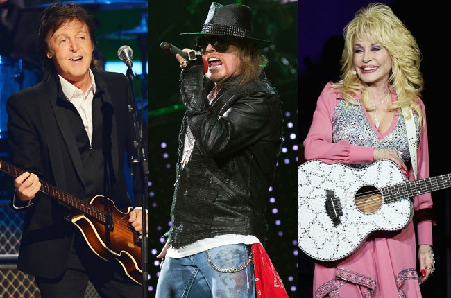 Paul McCartney, Axl Rose and Dolly Parton