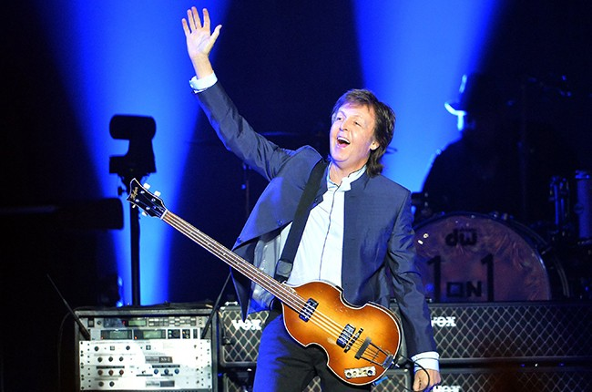 Paul McCartney greets the crowd at the start of his One on One tour on April 13, 2016 in Fresno, Calif.