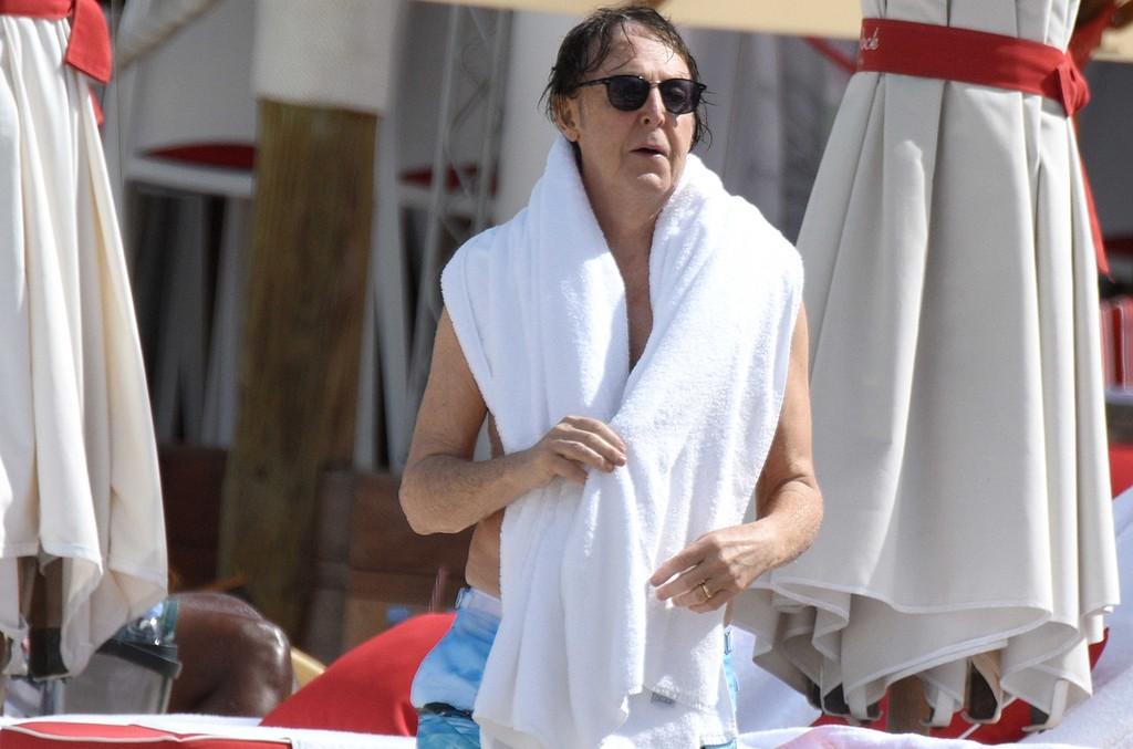 Sir Paul McCartney on the beach in St. Barts