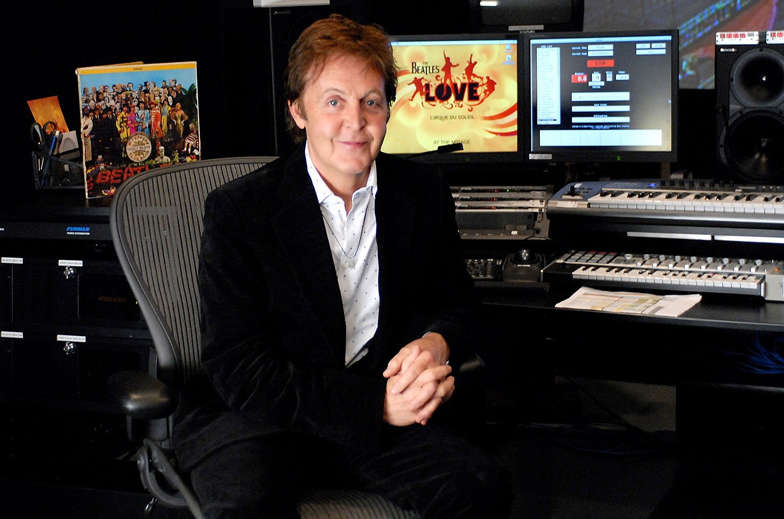 "Sir Paul McCartney, Cirque du Soleil ""LOVE"" control booth"