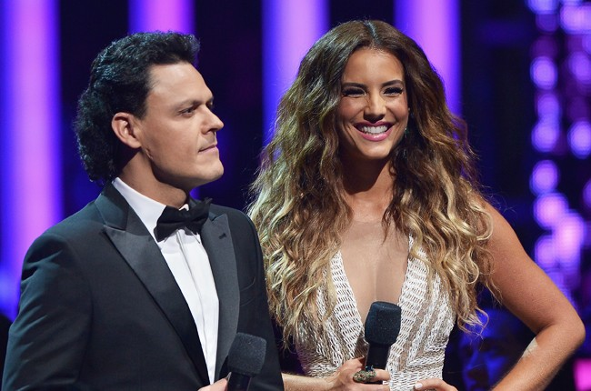 Pedro Fernande and Gaby Espino onstage at the 2015 Billboard Latin Music Awards