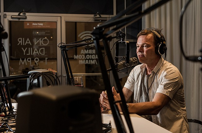 Pete Tong is interviewed in the Red Bull Music Academy pop-up radio station, at Red Bull Guest House in Miami, Fla., March 29, 2015.