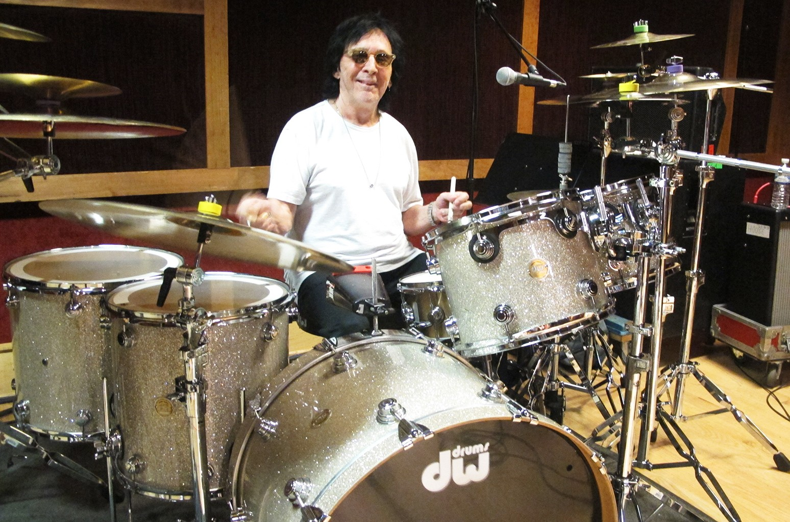 Peter Criss rehearses in a New York City studio on June 15, 2017, in preparation for his final U.S. performance.