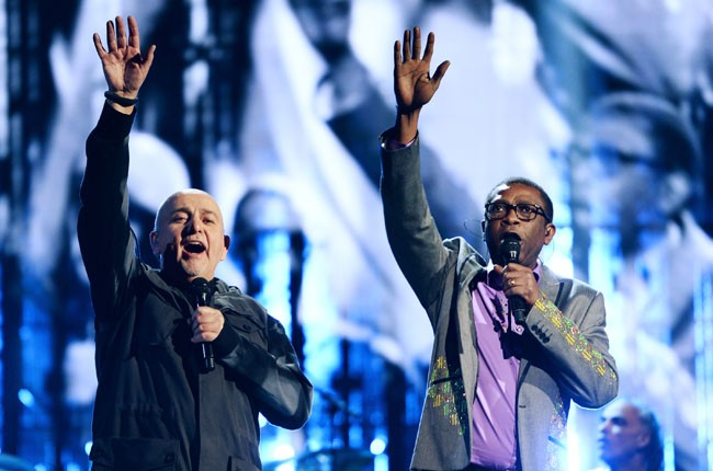 Peter Gabriel and Youssou N'Dour perform at the 2014 Rock And Roll Hall Of Fame Induction Ceremony