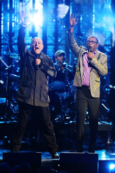 Peter Gabriel and Youssou N'Dour perform at the Rock And Roll Hall Of Fame Ceremony