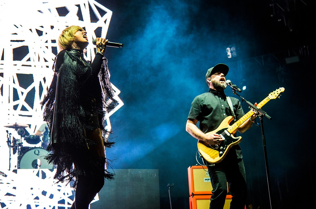 Sarah Barthel and Josh Carter of Phantogram perform at Coachella Music & Arts Festival at the Empire Polo Club on Friday, April 14, 2017, in Indio, Calif.