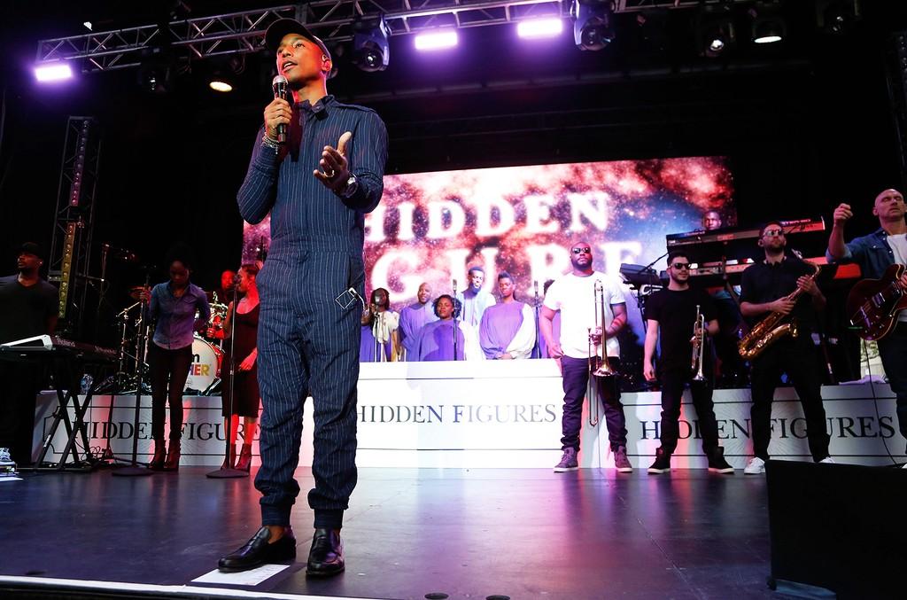 "Pharrell Williams performs during the ""Hidden Figures"" concert"