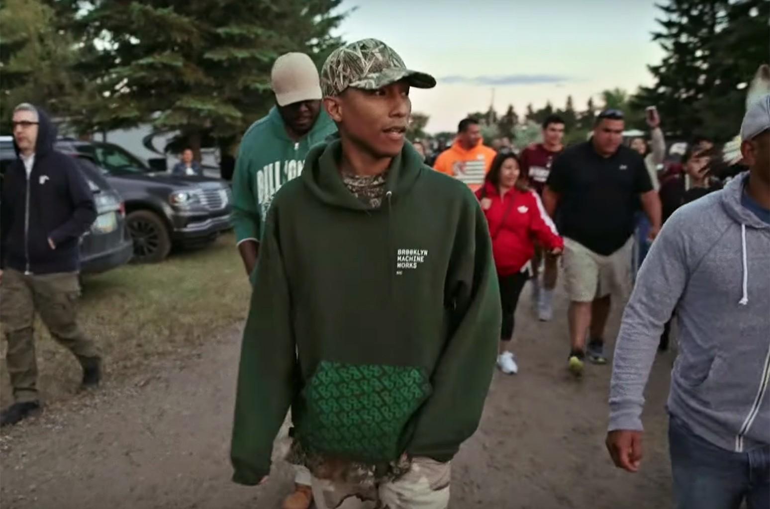 Pharrell Williams in a video for adidas Originals.