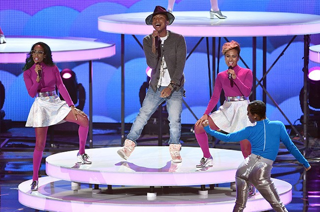 Pharrell Williams performs at the iHeartRadio Music Awards