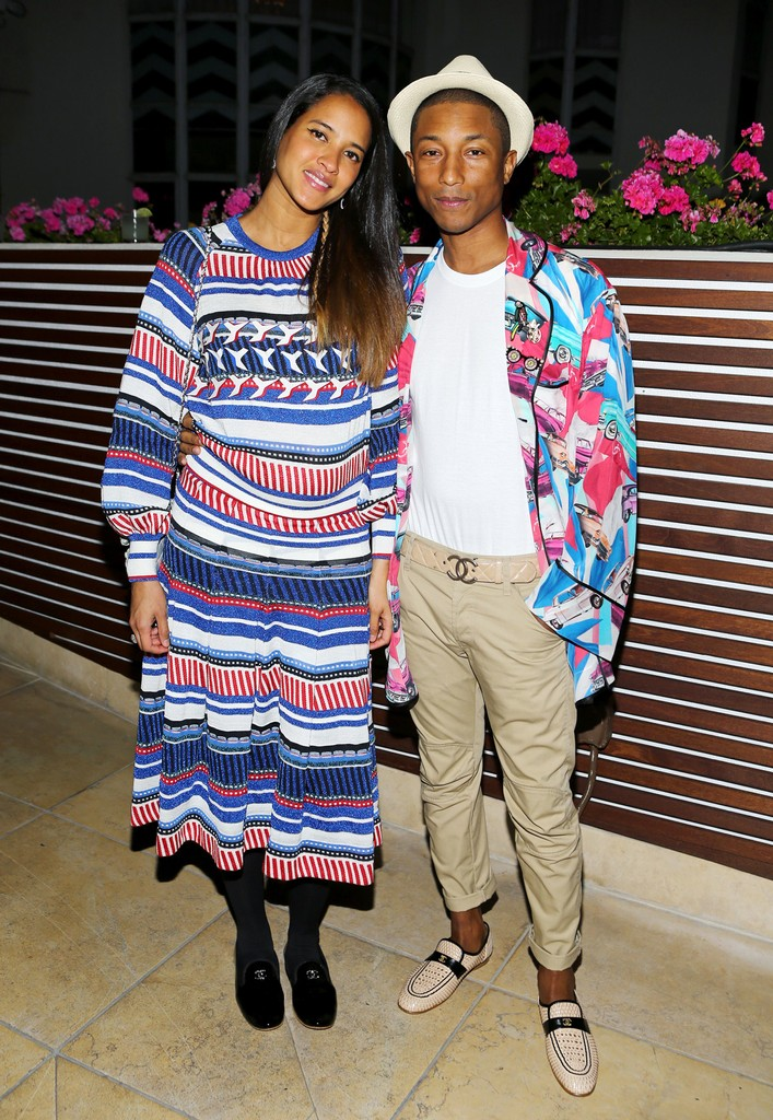 Pharrell Williams and Helen Lasichanh celebrates the launch of Chanel 'No.5 L'eau' on Sept. 22, 2016 in Los Angeles.