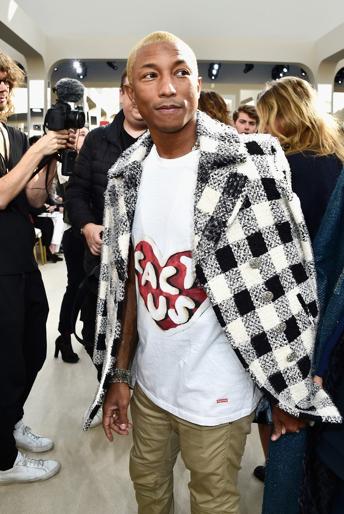 Pharrell Williams attends the Chanel show as part of the Paris Fashion Week Womenswear Fall/Winter 2016/2017 on March 8, 2016 in Paris, France.