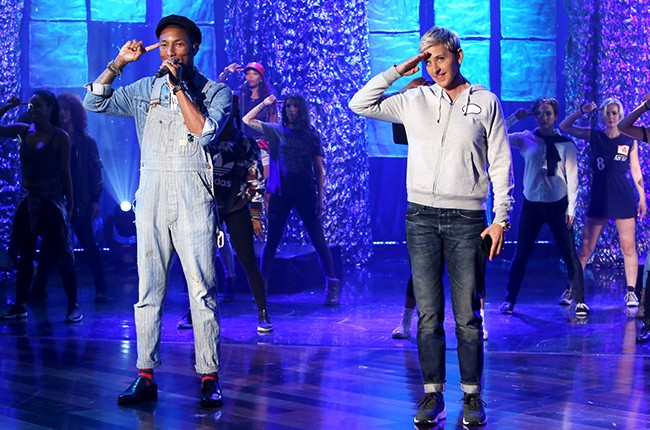 "Pharrell WIlliams performs ""Freedom"" on The Ellen DeGeneres Show on Oct. 12, 2015."