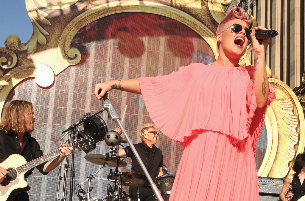 "P!nk performs onstage at the premiere of Disney's ""Alice Through The Looking Glass"" at the El Capitan Theatre on May 23, 2016 in Hollywood, Calif."