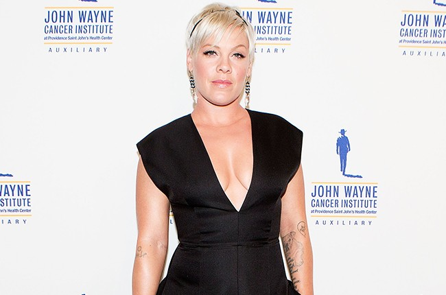 Pink arrives for the John Wayne 30th Annual Odyssey Ball