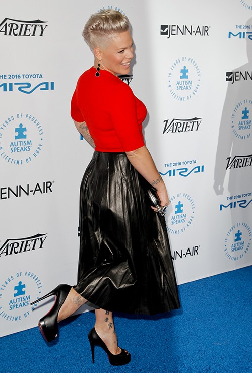 Pink attends the Autism Speaks to Los Angeles Celebrity Chef Gala at Barker Hangar