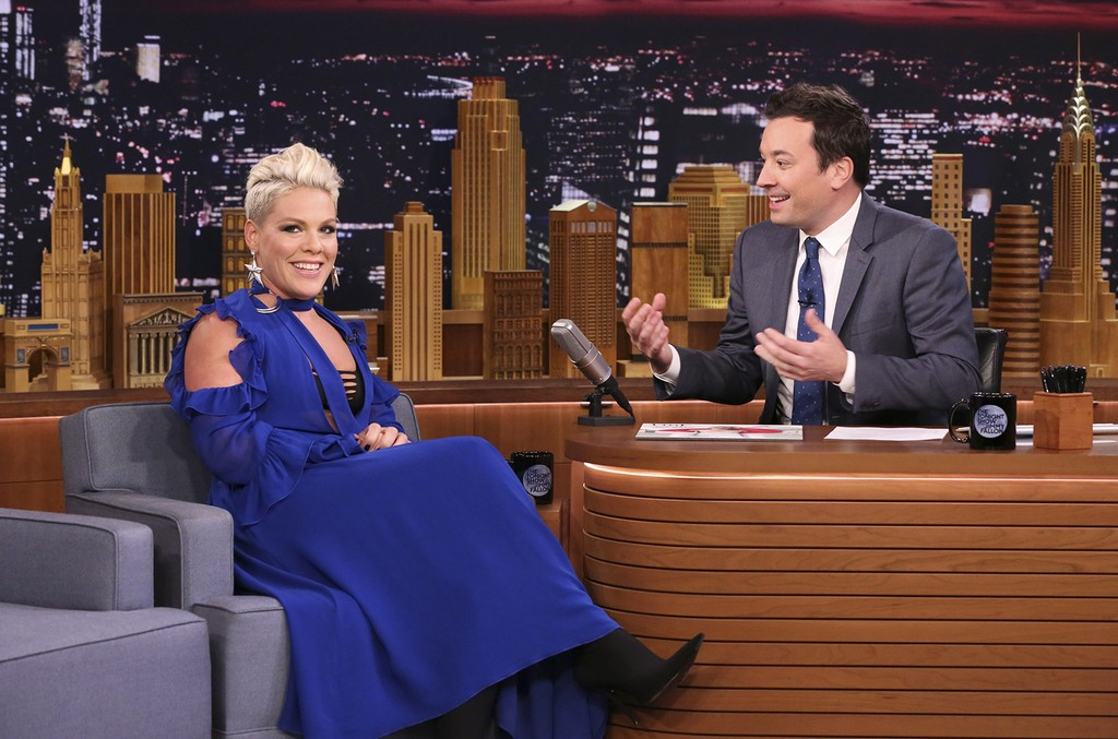 P!nk during an interview with host Jimmy Fallon on October 12, 2017 -- (Photo by: Andrew Lipovsky/NBC)