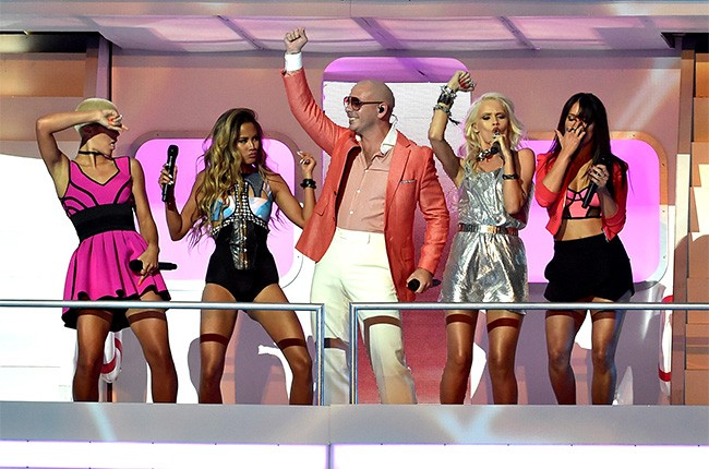 Pitbull performs at the iHeartRadio Music Awards