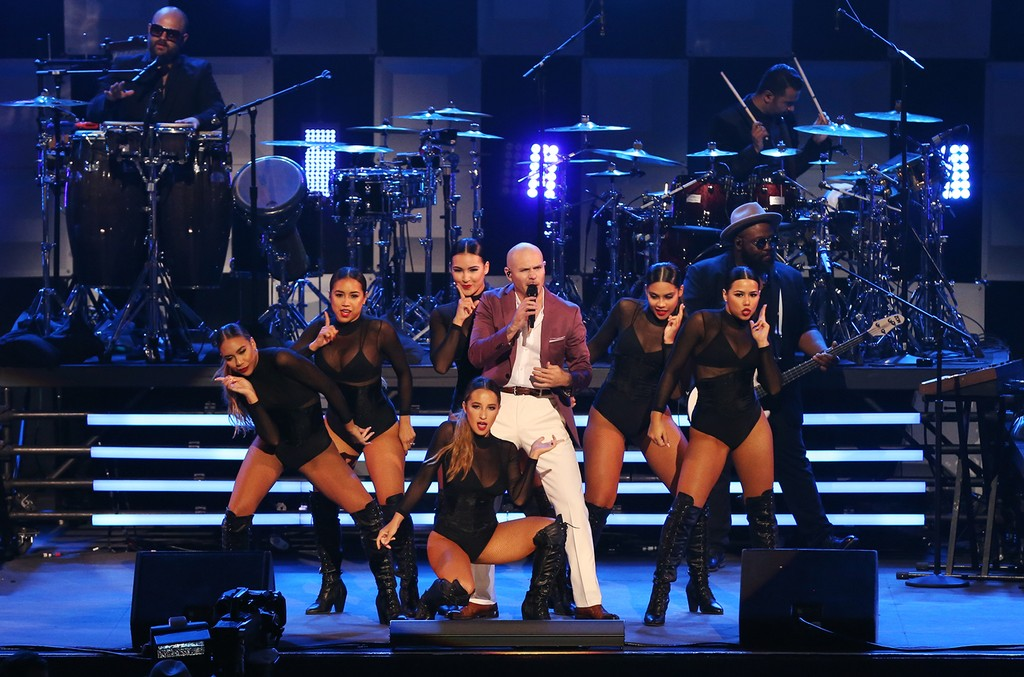 Pitbull performs on 'The Tonight Show Starring Jimmy Fallon' on April 3, 2017.