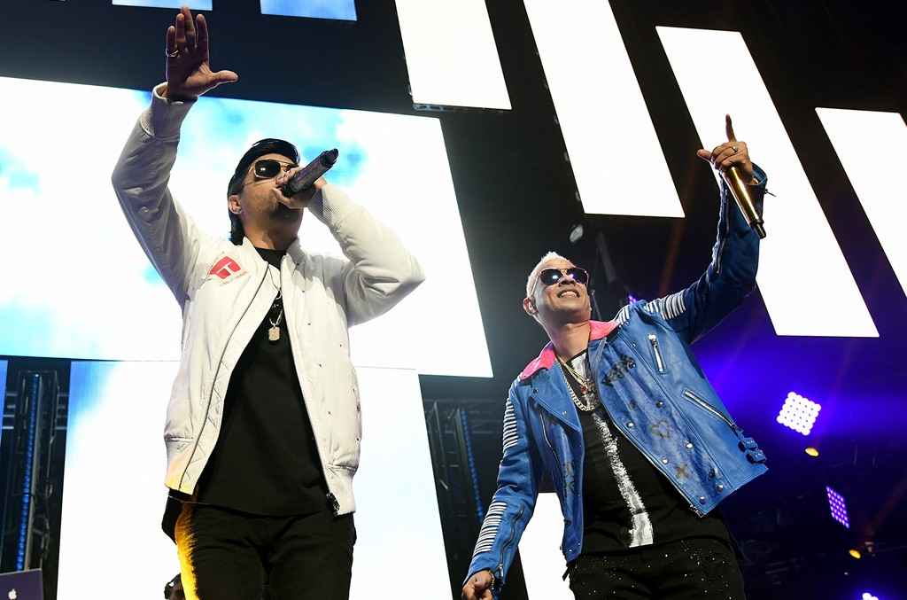 Chencho (L) and Maldy of Reggaeton duo Plan B perform during Calibash Las Vegas at T-Mobile Arena on Jan. 26, 2017 in Las Vegas.