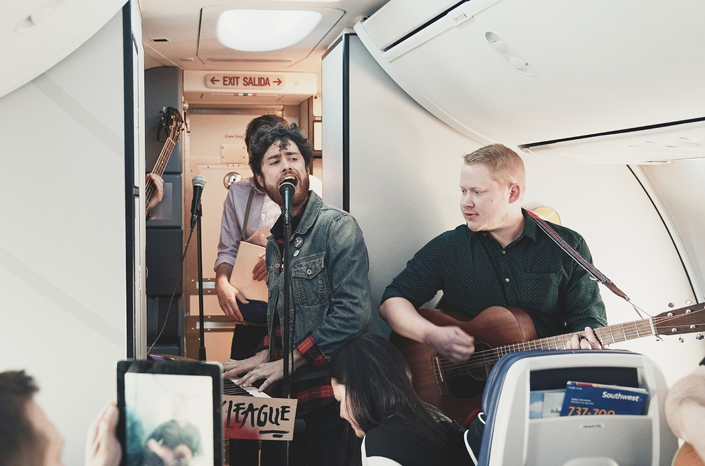 Pony League performs on Southwest Airlines