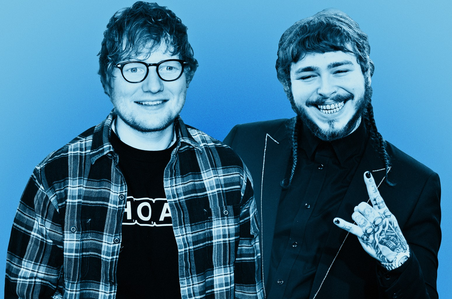 Ed Sheeran (left) & Post Malone
